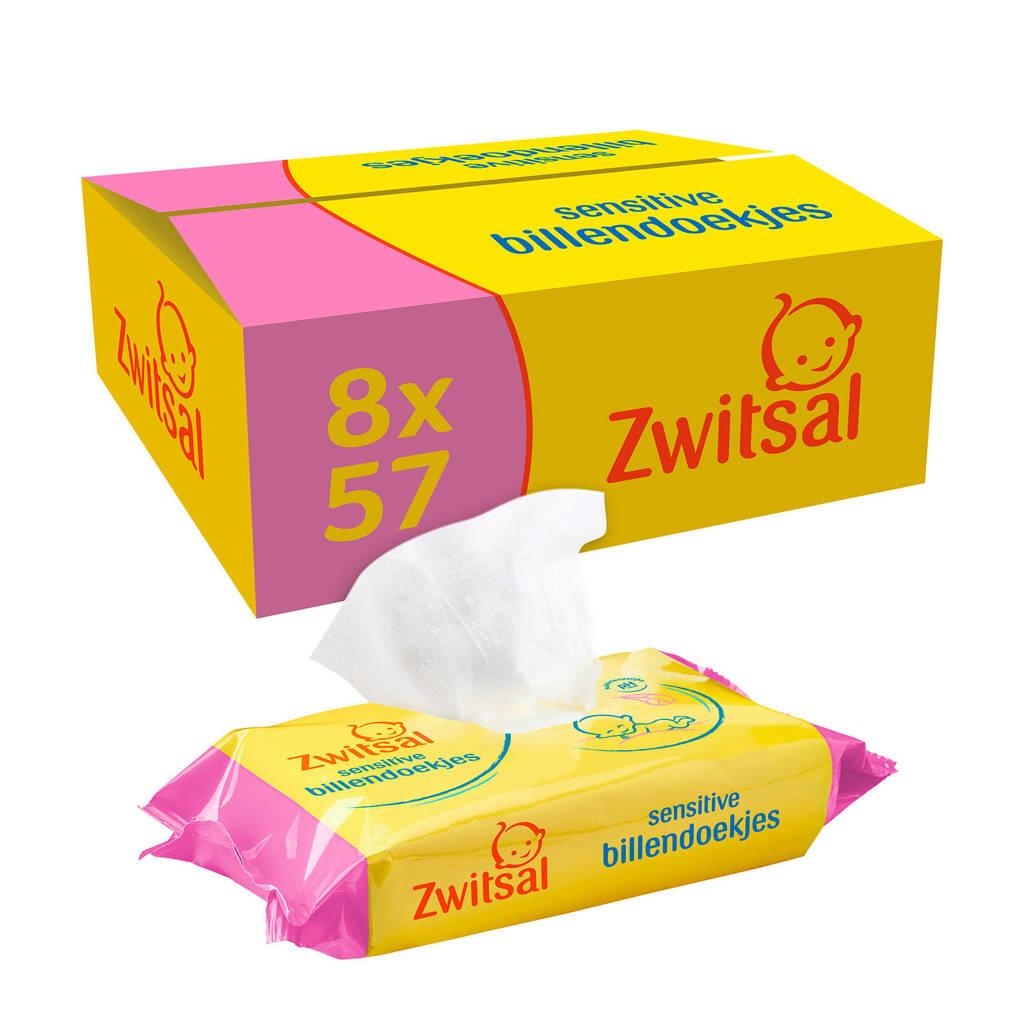 Zwitsal Sensitive 8x57 billendoekjes - baby, 456 stuks / 8 pakjes