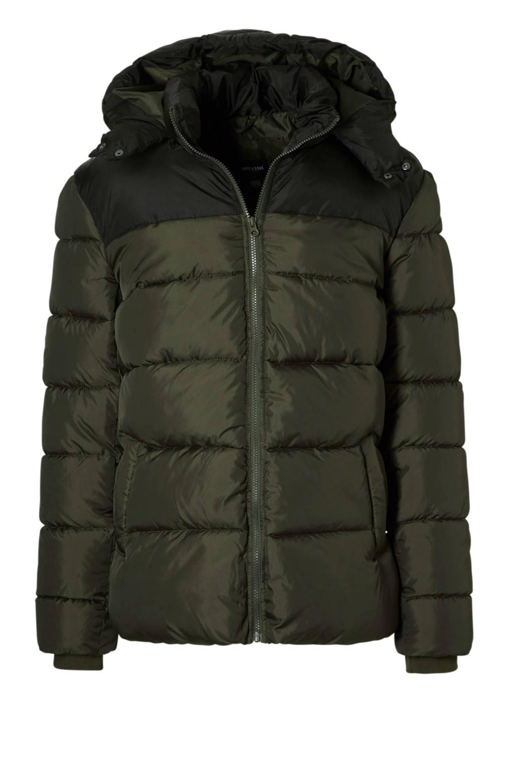 Only & Sons puffer jas, Groen/zwart