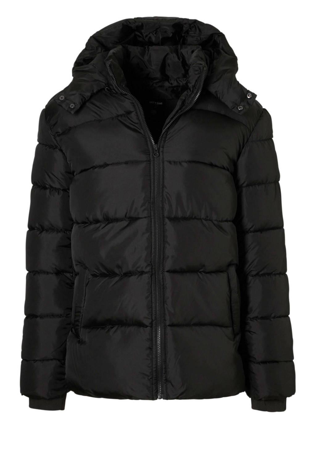 Only & Sons puffer jas, Zwart