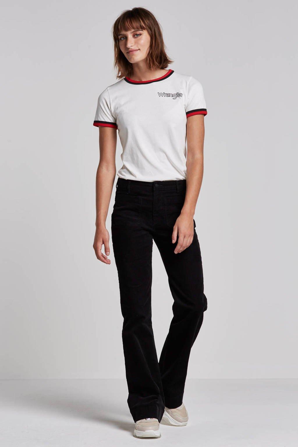 Wrangler Ringer T-shirt, Wit/rood/zwart