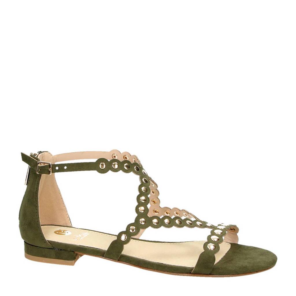 La Strada sandalen met studs, Olijfgroen