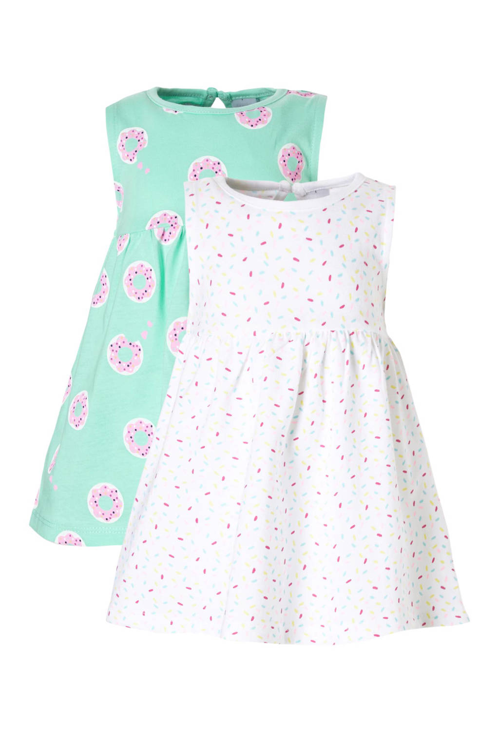 C&A Baby Club jurk met all over print (set van 2), Mintgroen/roze/wit