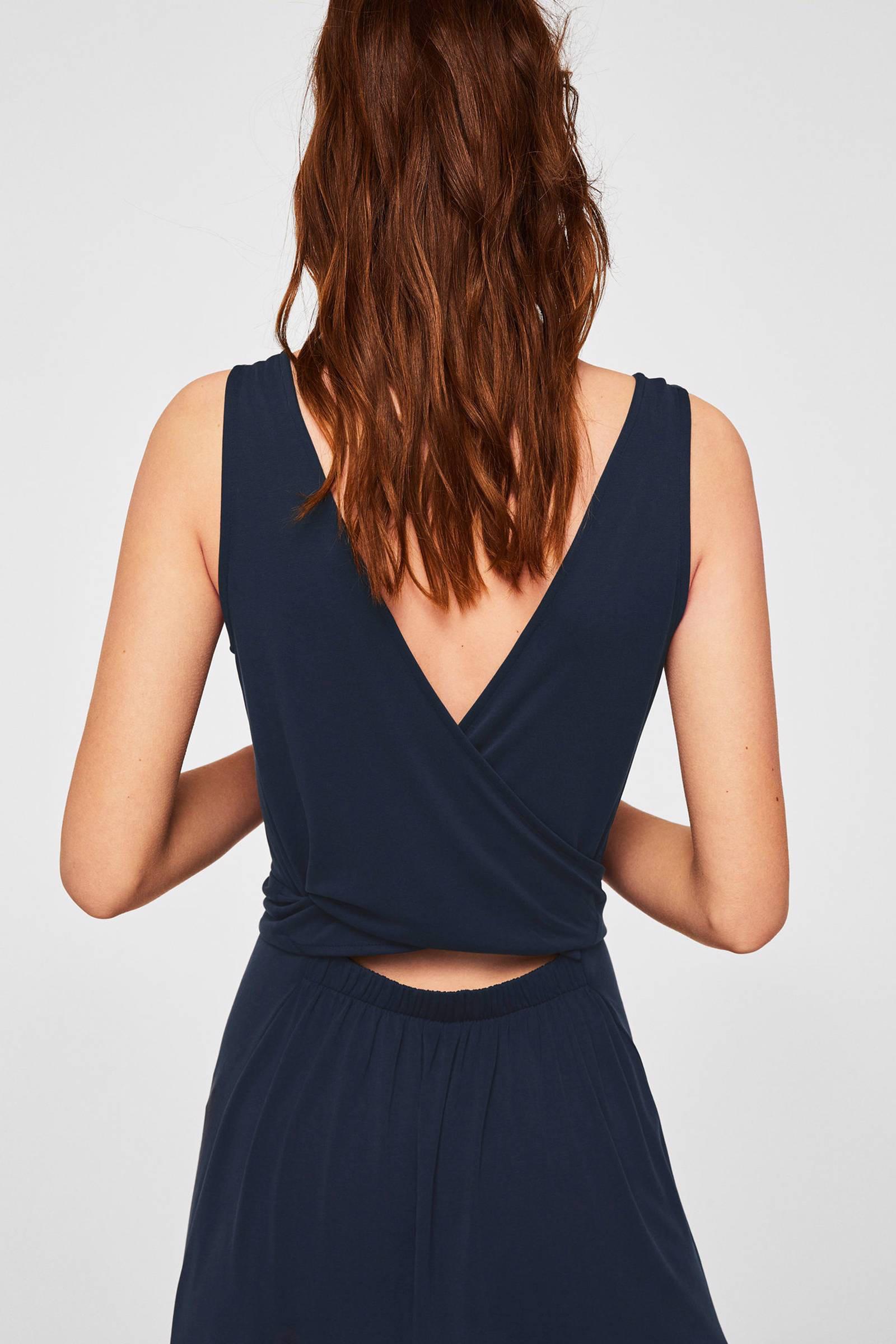 6056d1bfeaabe2 Mango maxi jurk met rugdecolleté blauw