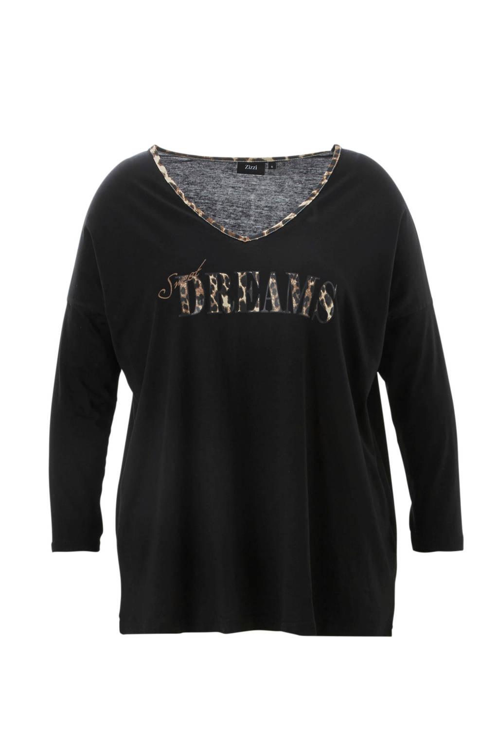 Zizzi pyjamatop met opdruk zwart, Zwart/bruin