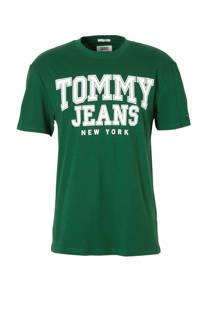 Tommy Jeans T-shirt met tekst groen