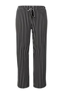 Miss Etam Plus gestreepte straight fit broek zwart 32 inch
