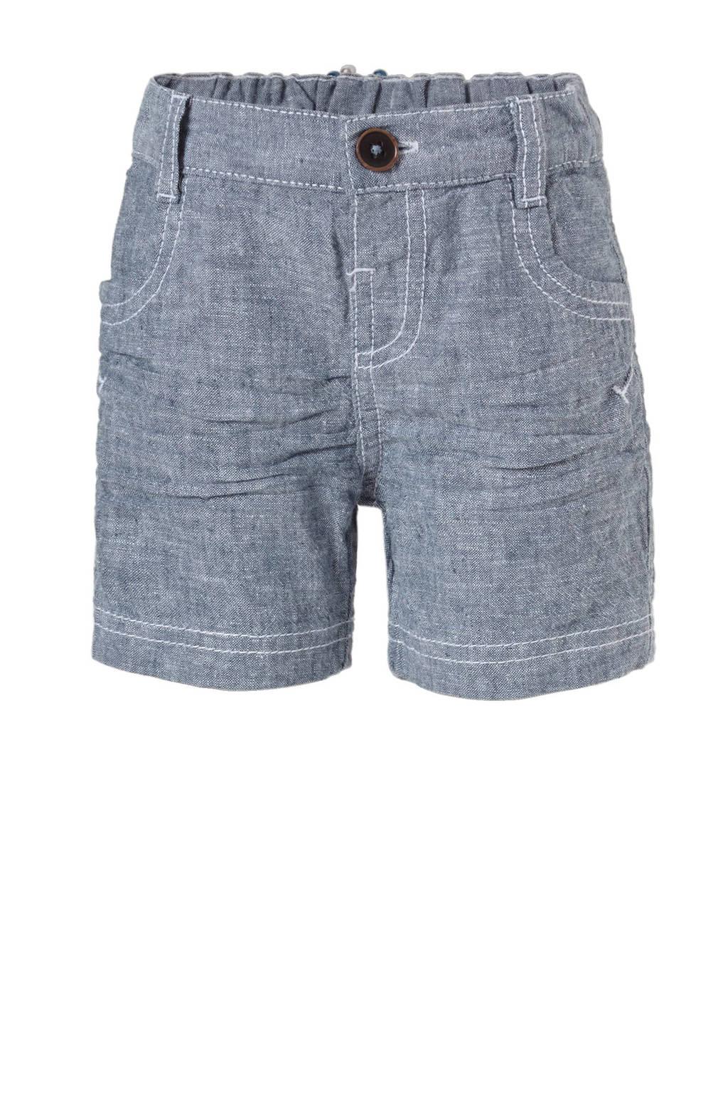 C&A Baby Club korte broek met linnen donkerblauw, Donkerblauw melange