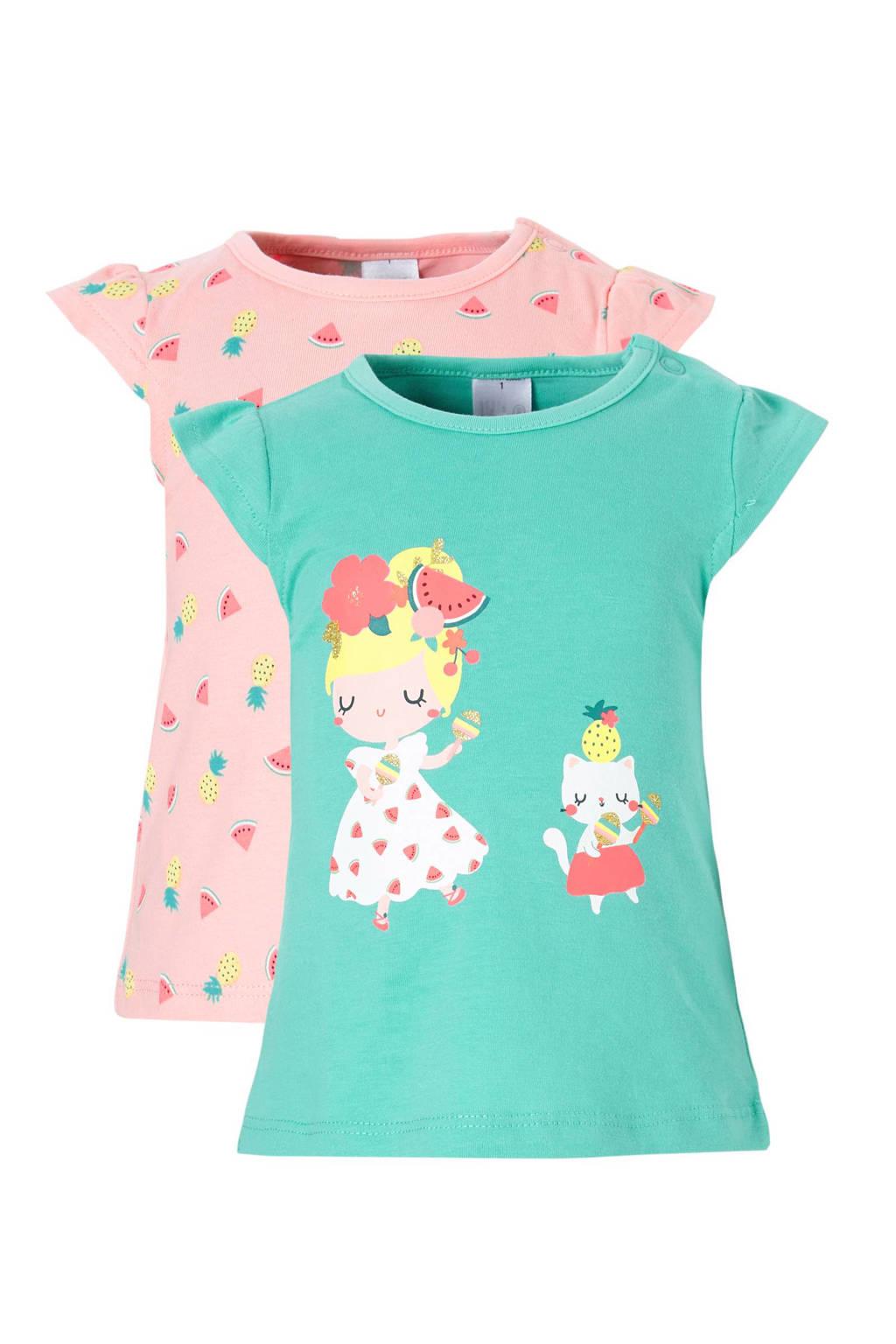 C&A Baby Club T-shirt (set van 2), Groen/roze/geel