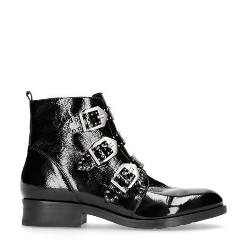 Manfield lakleren boots zwart kopen