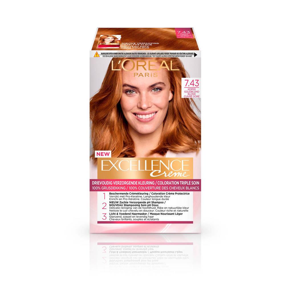 L'Oréal Paris Excellence Crème haarkleuring - 7.43 Goudblond