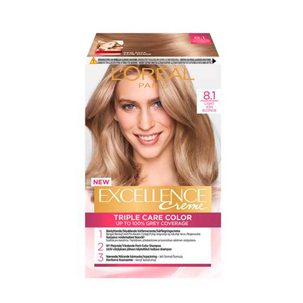 L'Oréal Paris Excellence Crème haarkleuring - Licht 8.1 Asblond, 8 Lichtblond