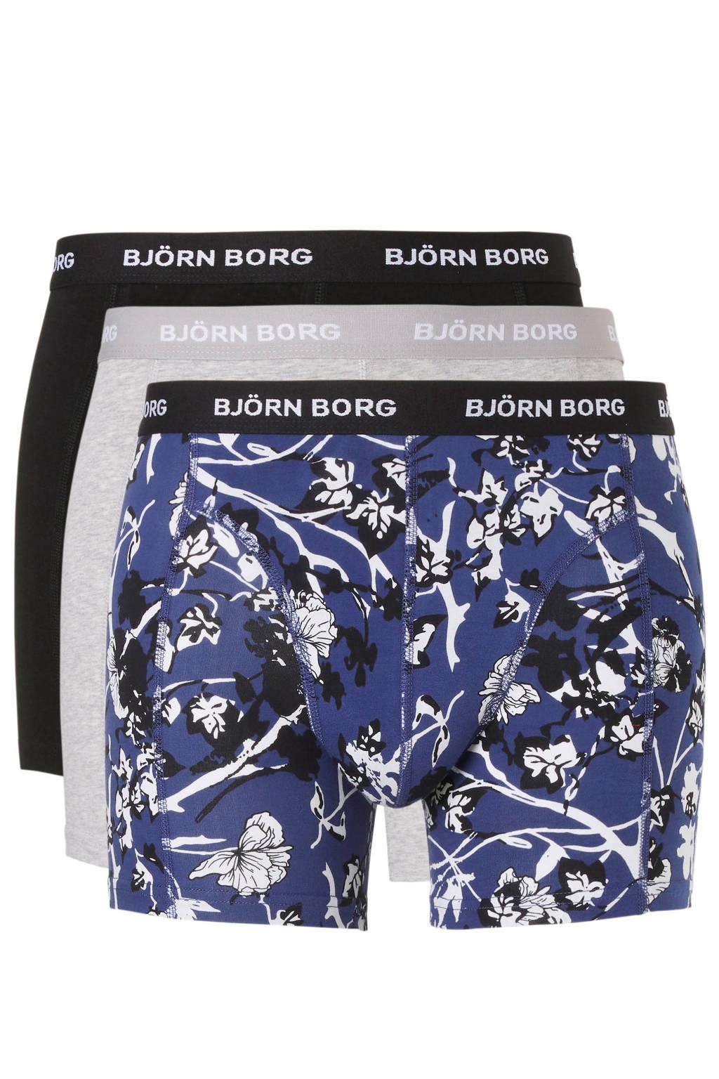 Björn Borg boxershort (set van 3), Donkerblauw/grijs