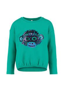 sweater Juske met pailletten turquoise