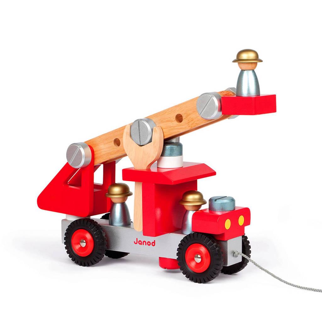 Janod houten vrachtwagen - brandweerauto