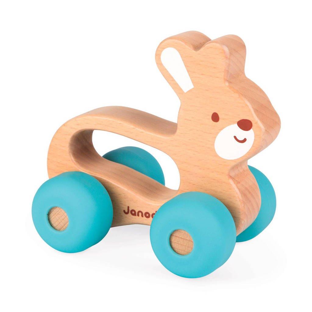Janod houten duwfiguur konijn, Blauw