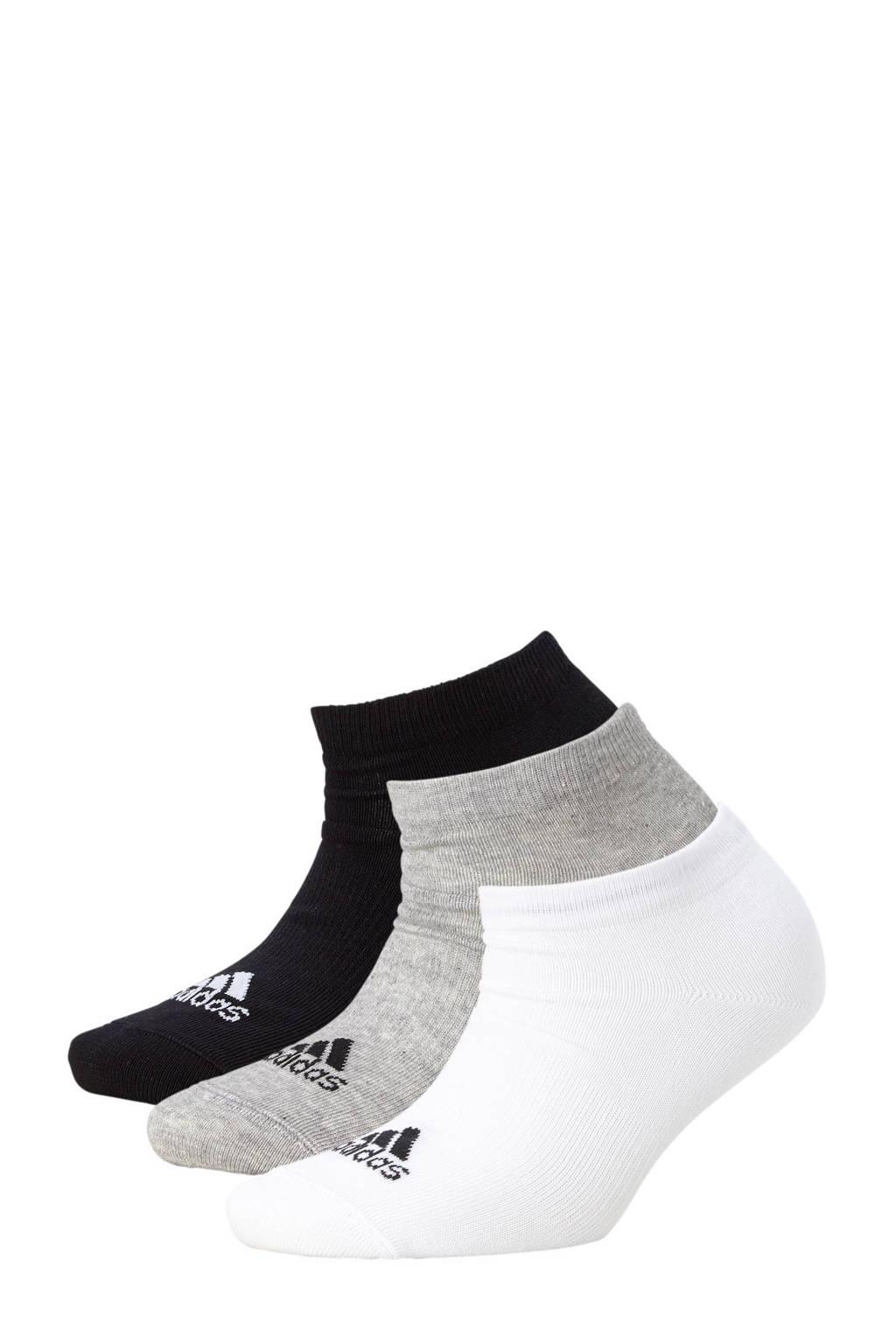 adidas performance sneakersokken, Wit/ grijs/ zwart