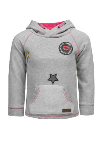 hoodie met patches grijs