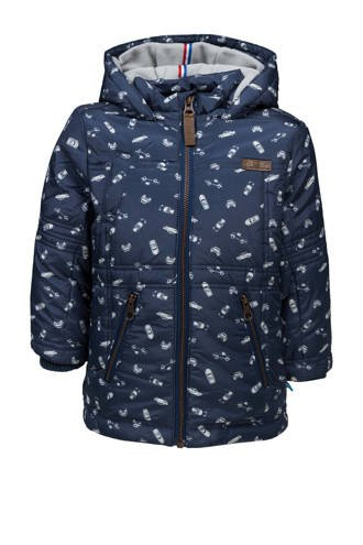 winterjas met all over print blauw