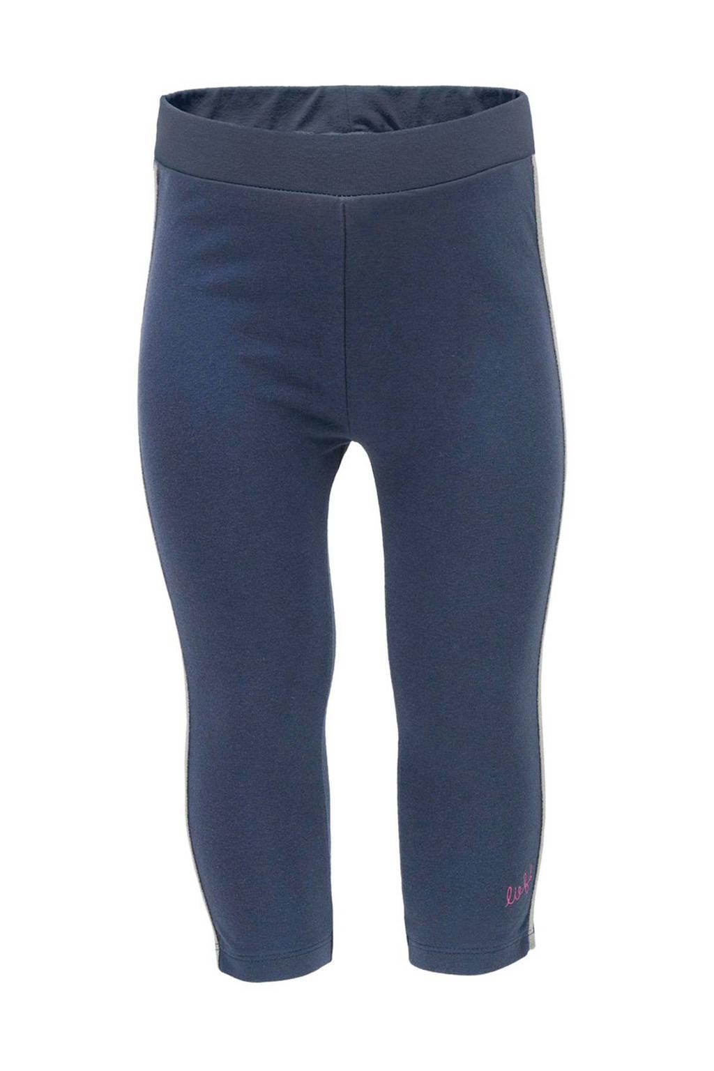 lief! legging met zijstreep blauw, Donkerblauw/zilver