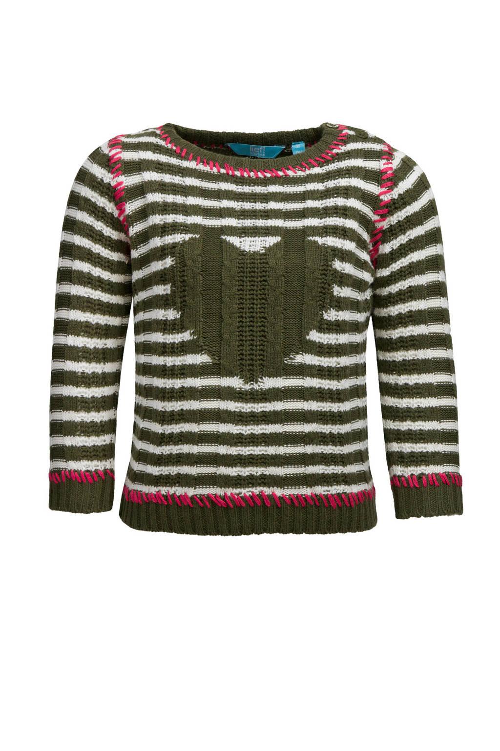 lief! gestreepte trui met hart groen, Donkergroen/ecru