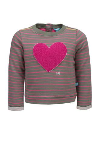 gestreepte sweater met hart grijs