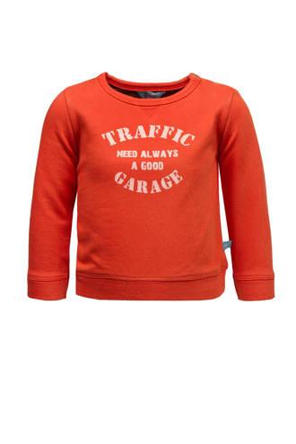 sweater met tekst oranjerood