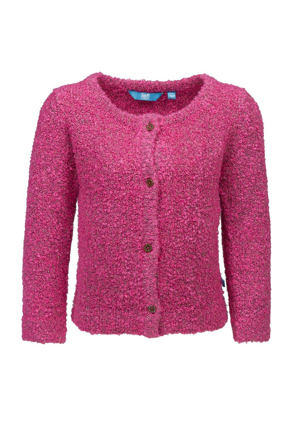 lief! vest met textuur roze, Roze