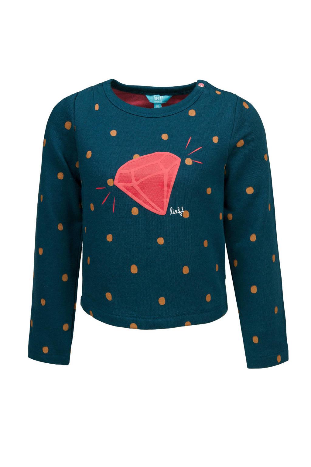 lief! sweater met stippen blauw, Blauw