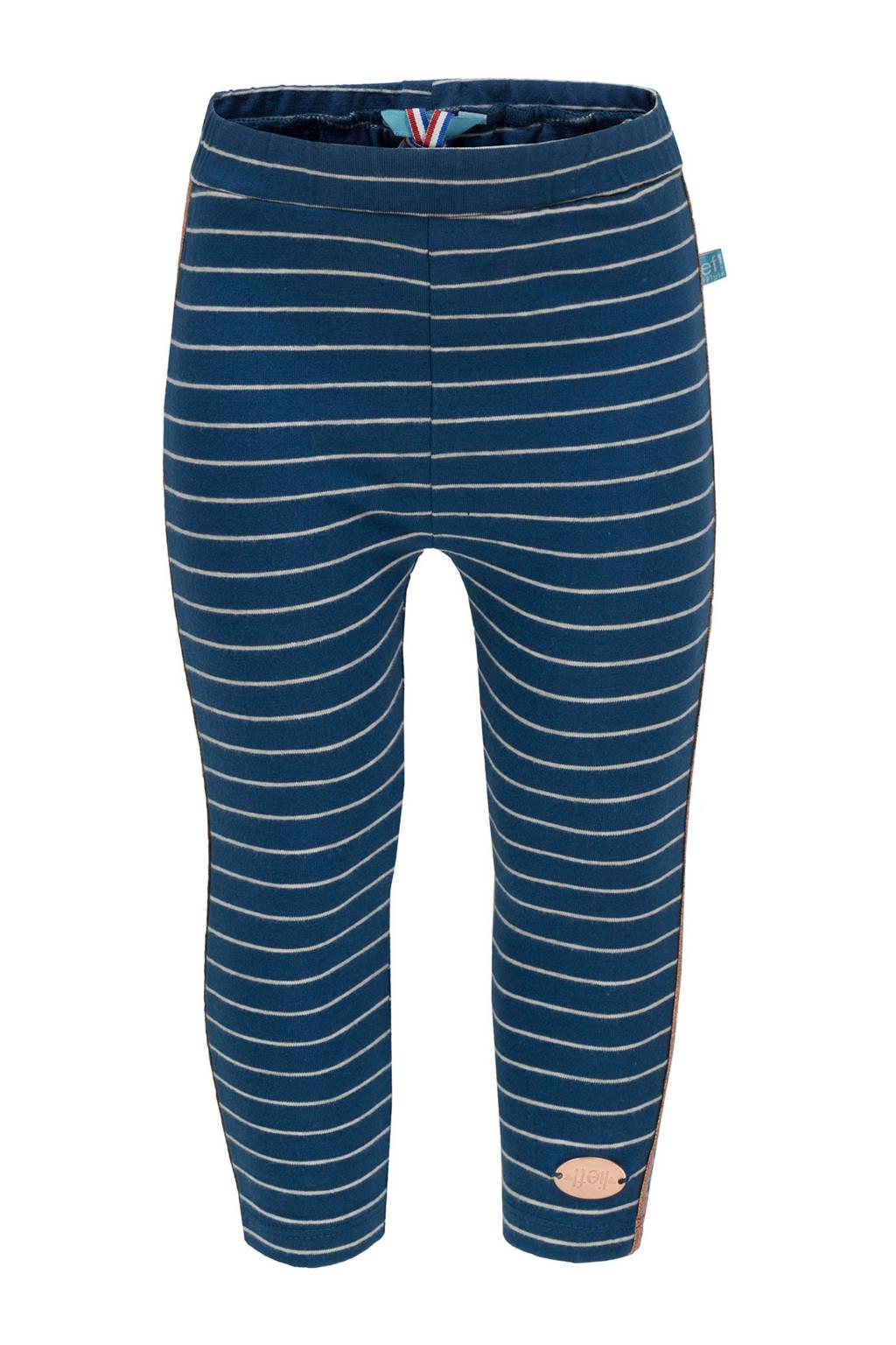 lief! gestreepte legging met zijstreep blauw, Donkerblauw
