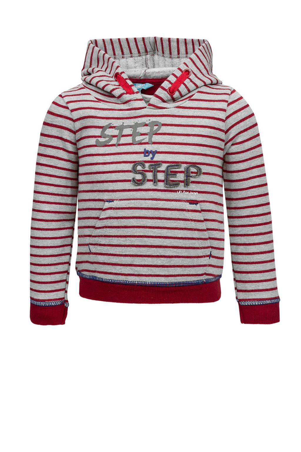 lief! gestreepte hoodie met tekst rood, Grijs/rood