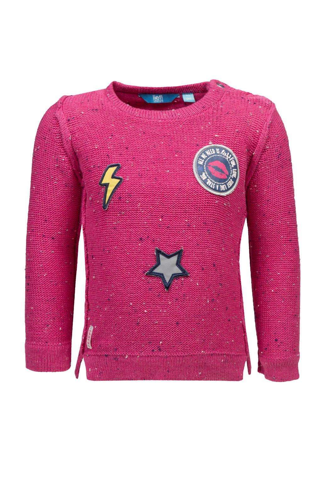 lief! trui met patches roze, Roze