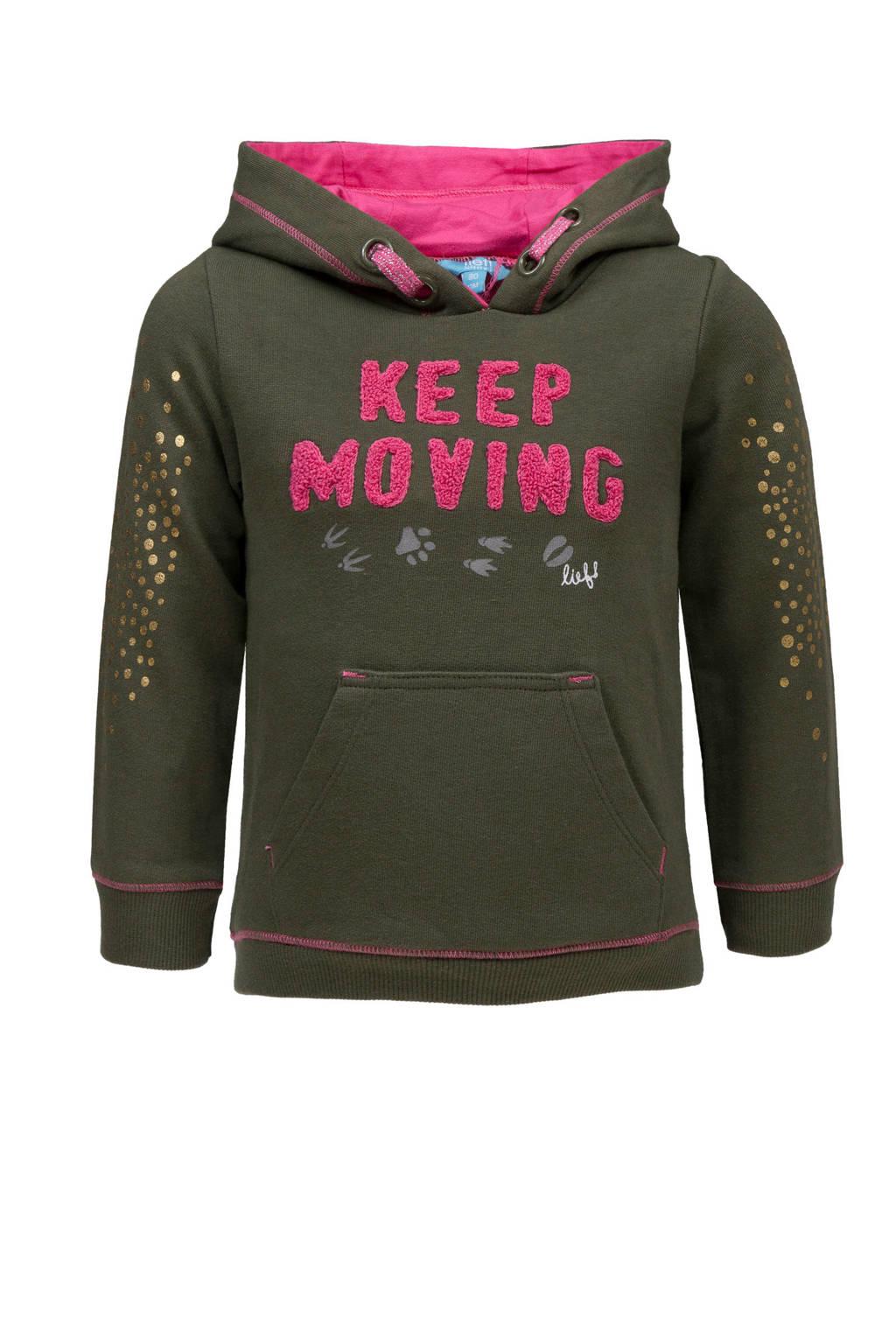 lief! hoodie met tekst groen, Groen/roze