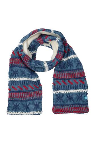 sjaal met allover dessin blauw