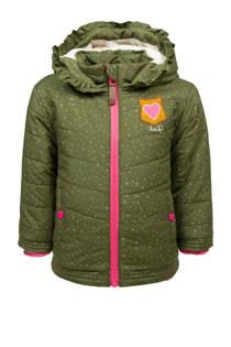 lief! winterjas met stippen groen (meisjes)