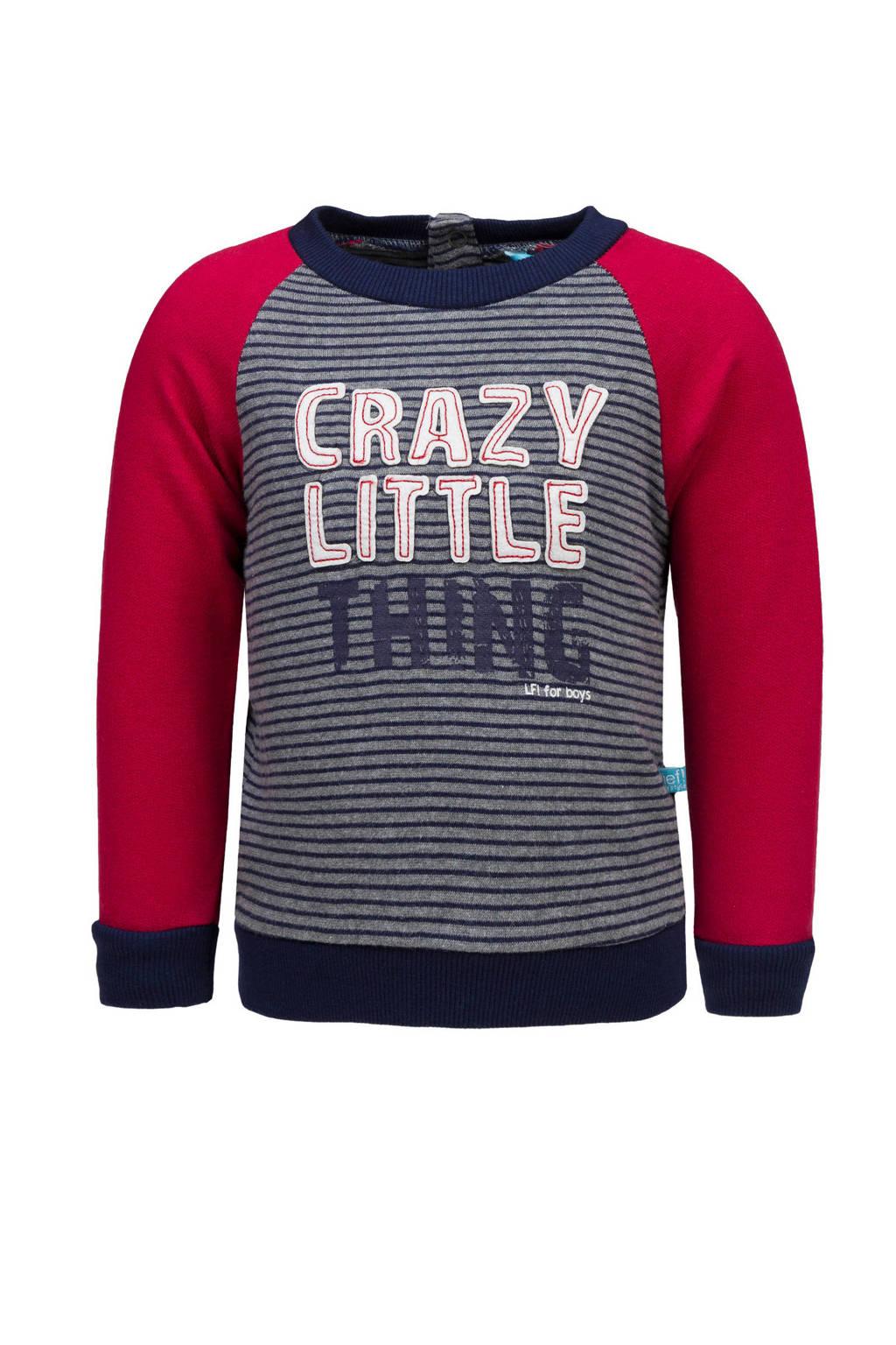 lief! gestreepte sweater met tekst grijs/rood, Grijs/blauw/rood