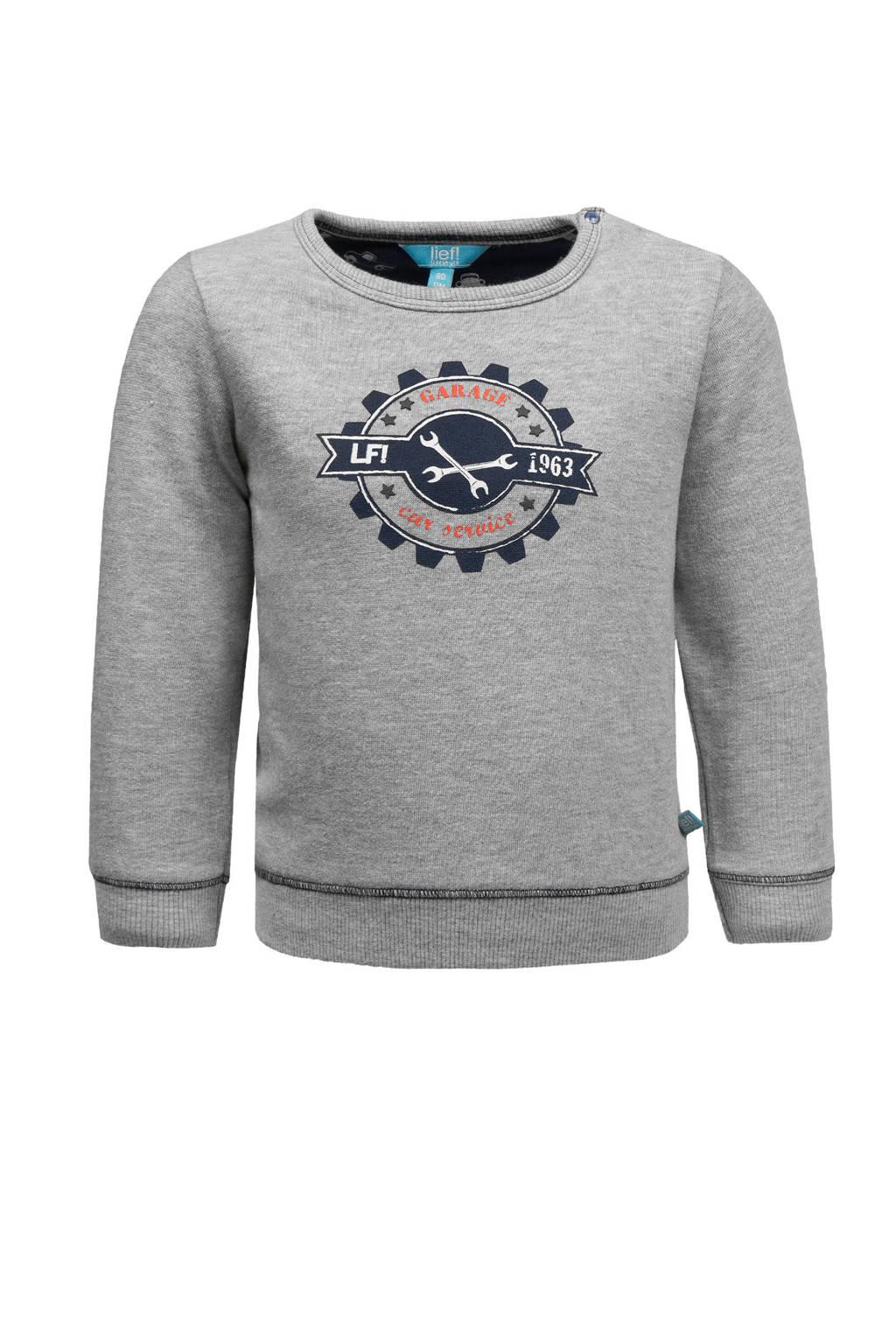 lief! sweater met printopdruk grijs, Grijs