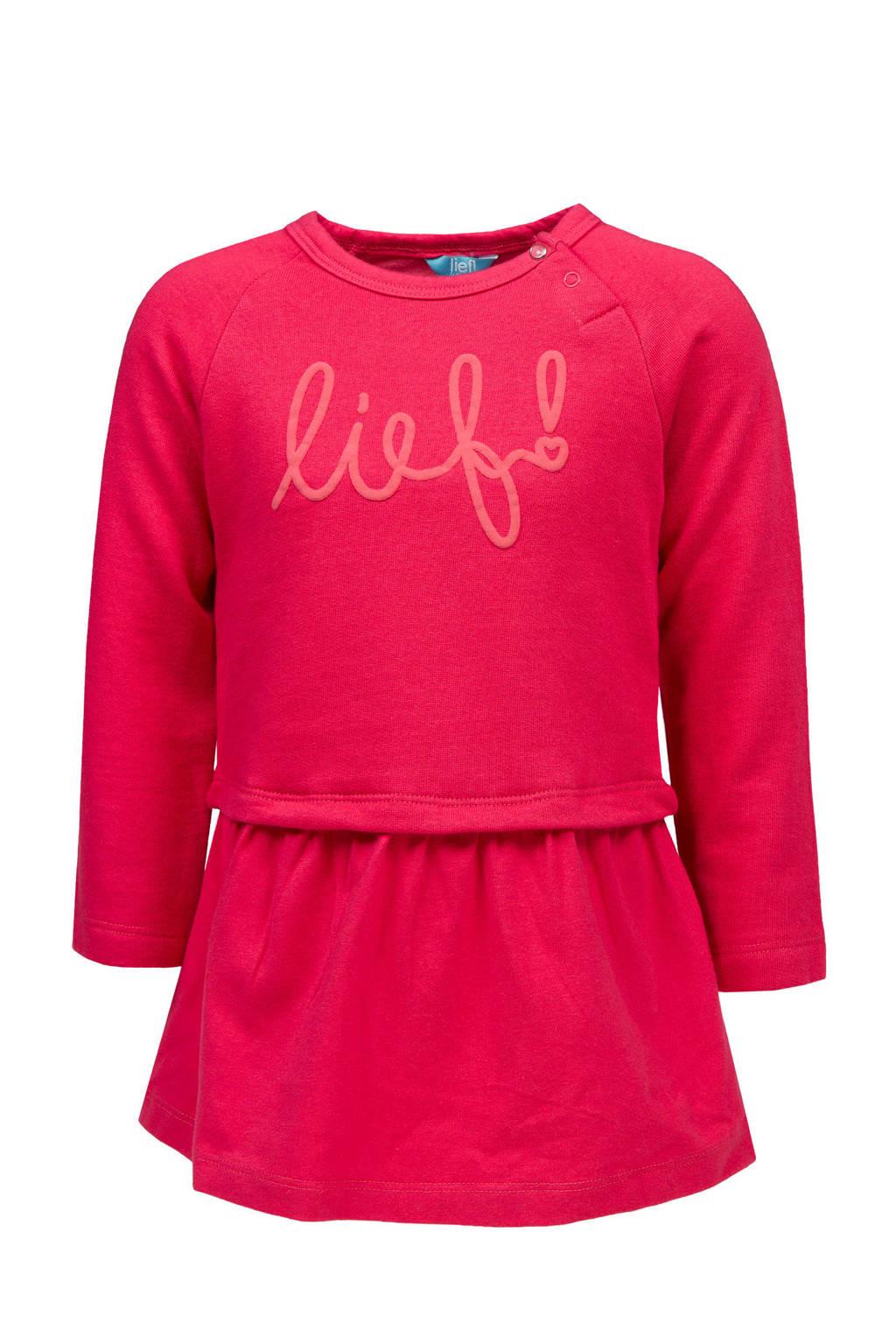 lief! sweatjurk met logo roze, Roze