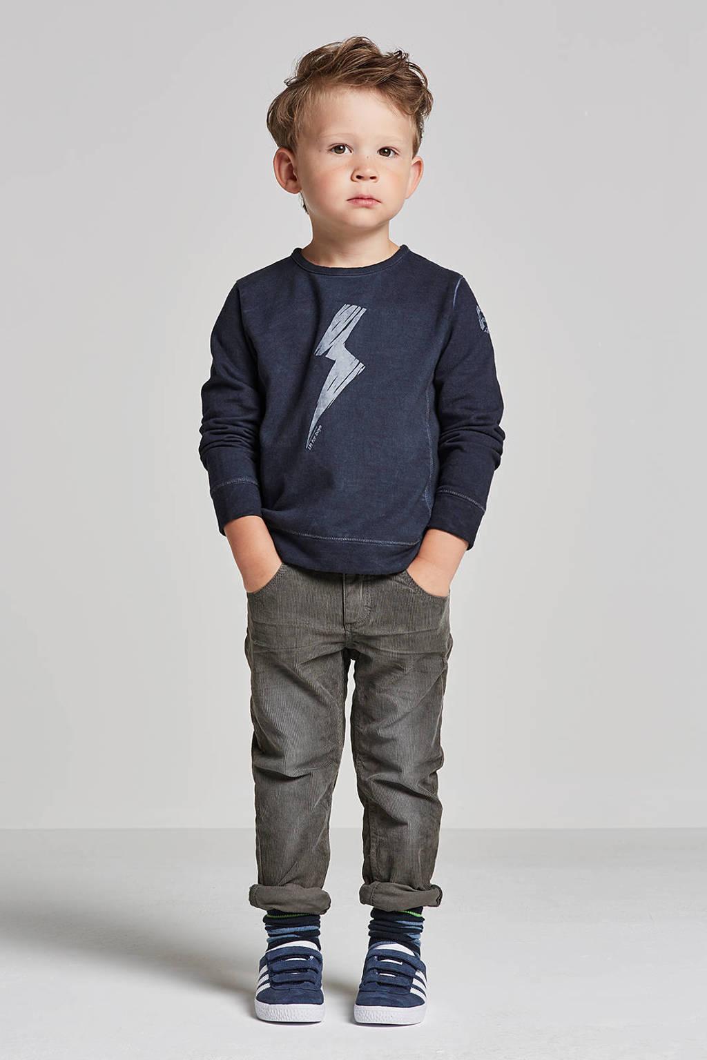 lief! sweater met printopdruk blauw, Donkerblauw