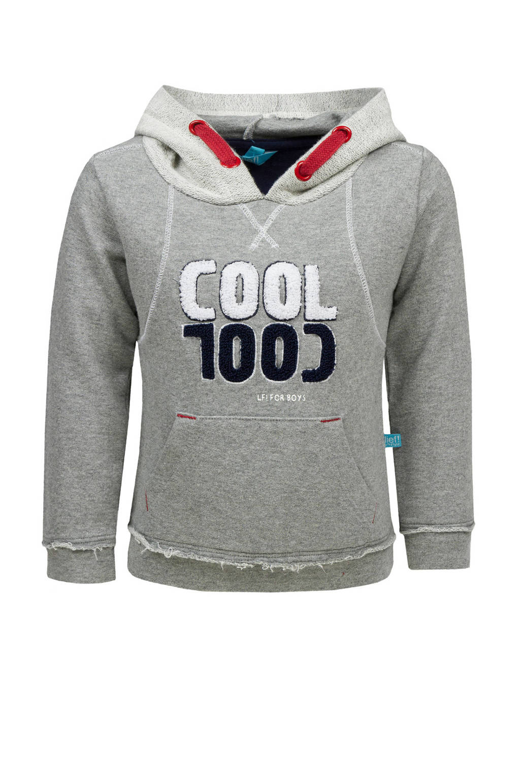 lief! sweater met capuchon grijs, Grijs melange/lichtgrijs