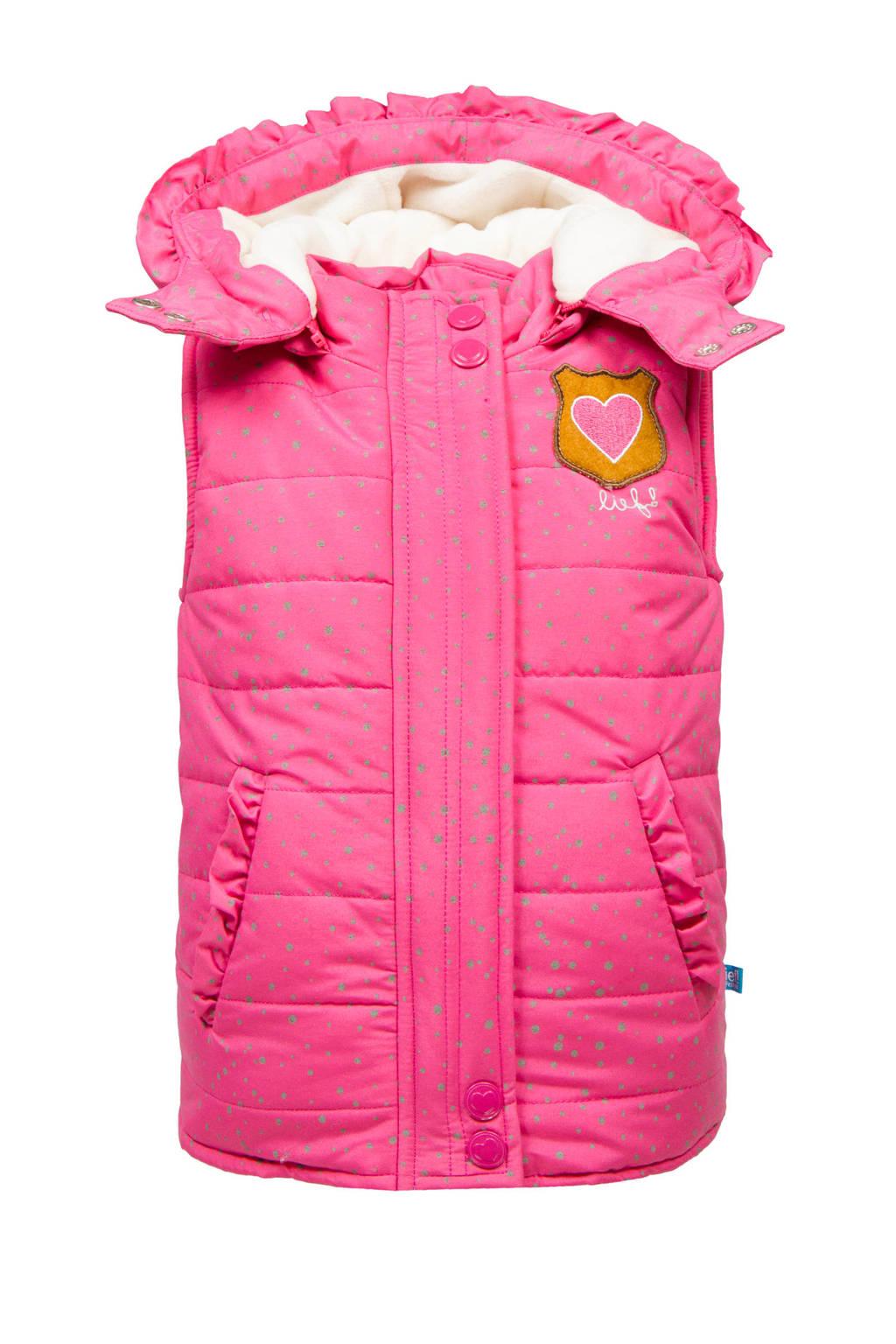 lief! bodywarmer met stippen roze, Roze