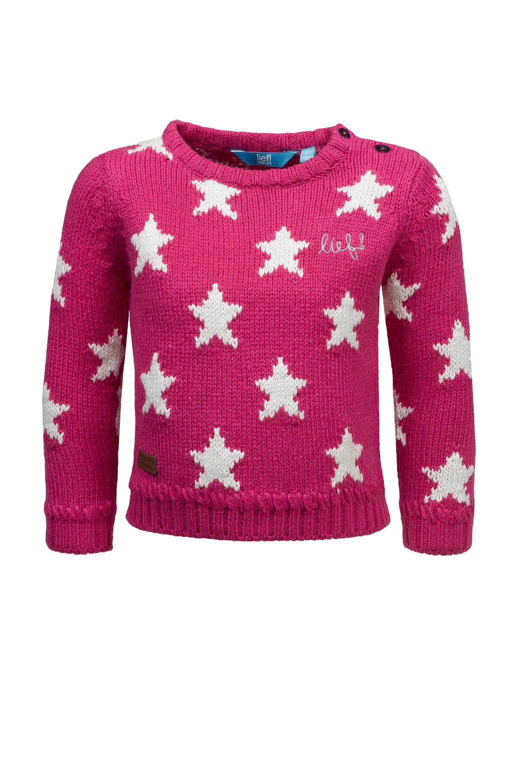 lief! trui met sterren roze, Roze/wit