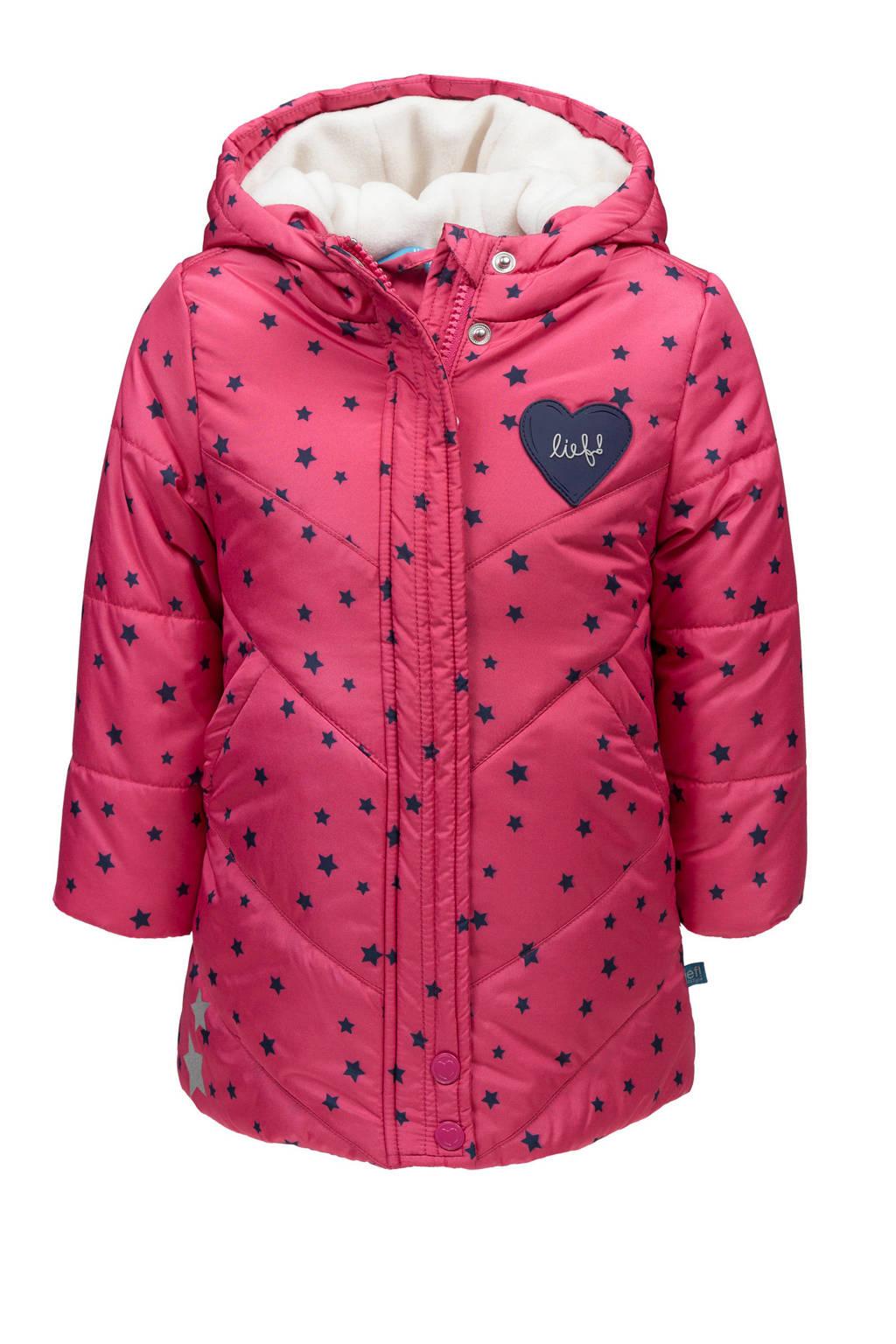 lief! winterjas met sterren roze, Roze