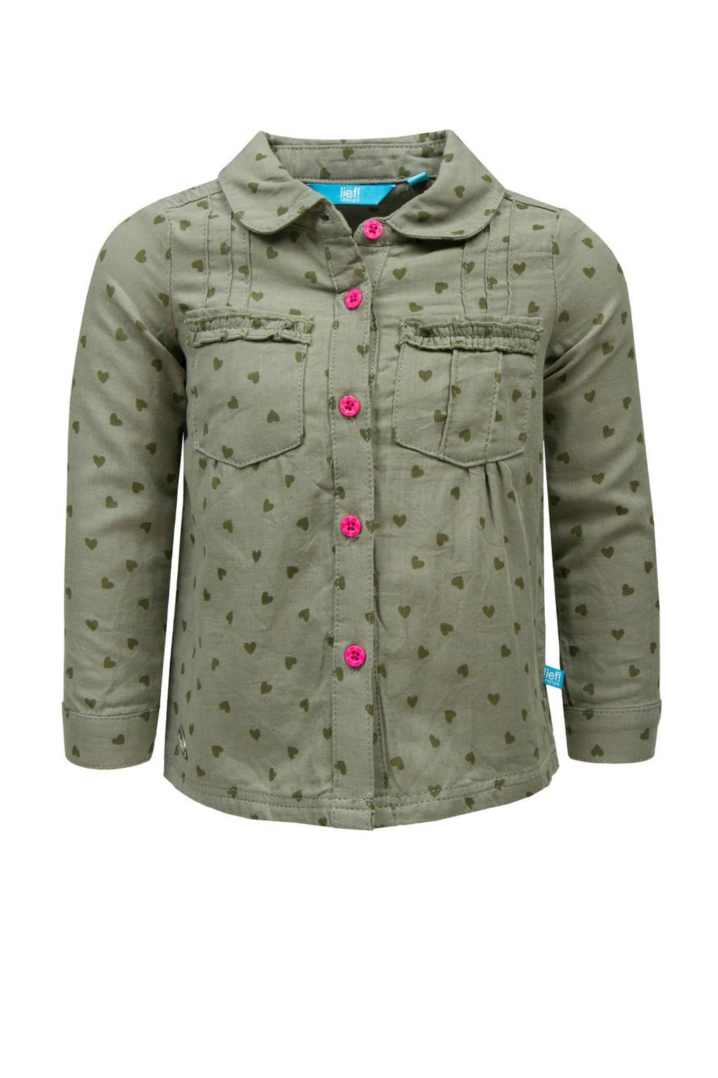 lief! blouse met hartjes, Khakigroen