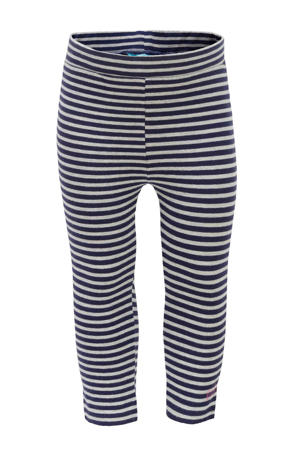 lief! gestreepte legging blauw, Donkerblauw/grijs