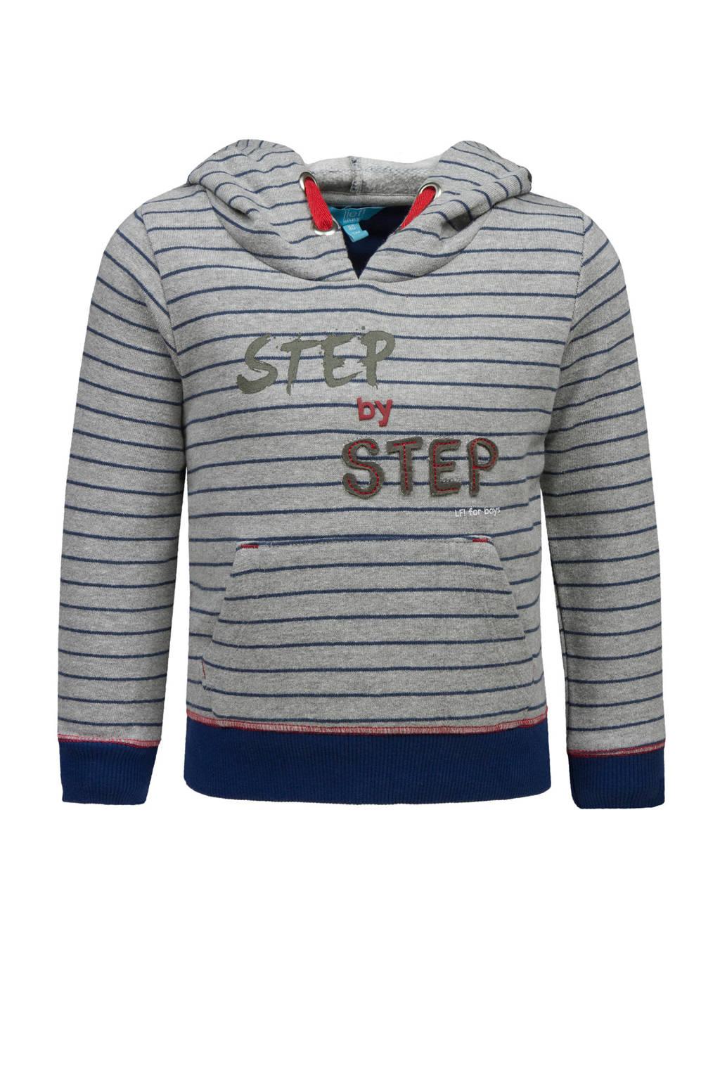 lief! gestreepte hoodie met tekst grijs, Grijs/donkerblauw