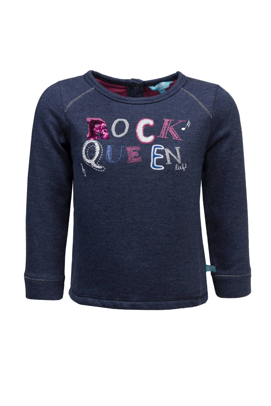 lief! sweater met tekst blauw, Donkerblauw