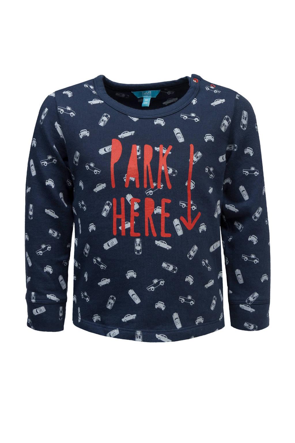 lief! sweater met auto's blauw, Donkerblauw/rood