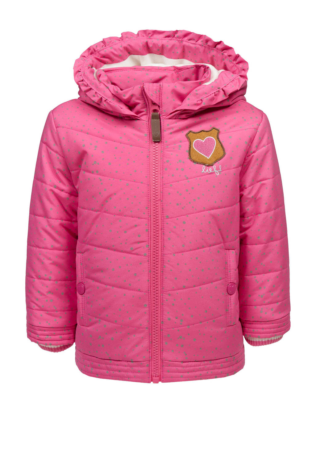 lief! winterjas met stippen roze, Roze