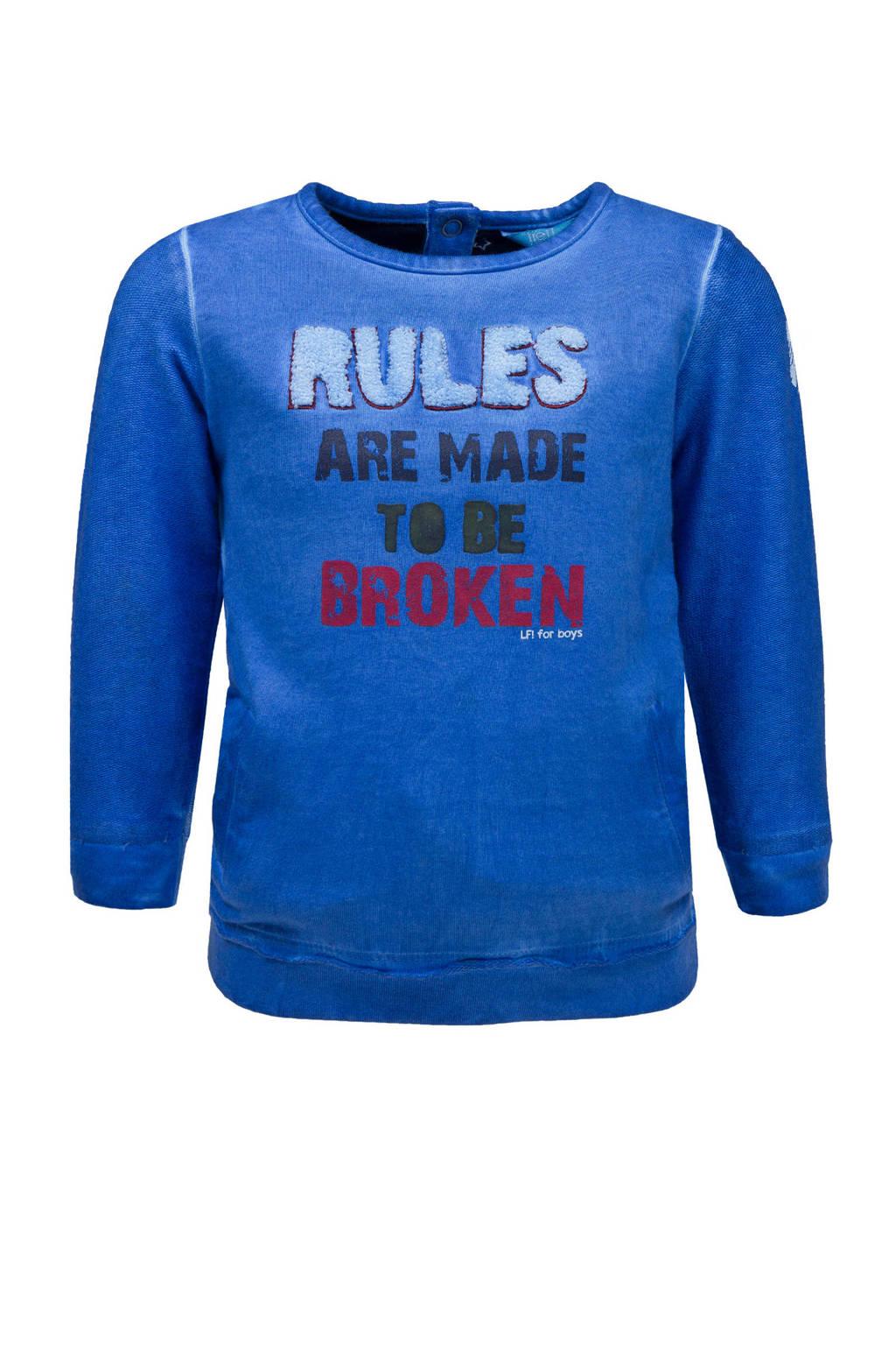 lief! sweater met tekst blauw, Blauw