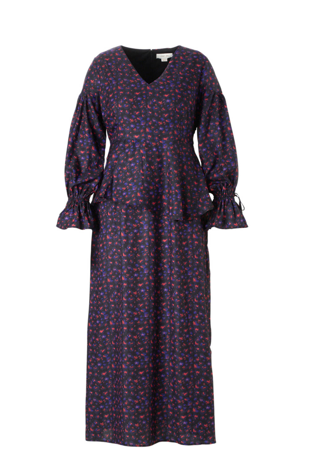Lost Ink Plus jurk met bloemenprint, zwart/paars/rood